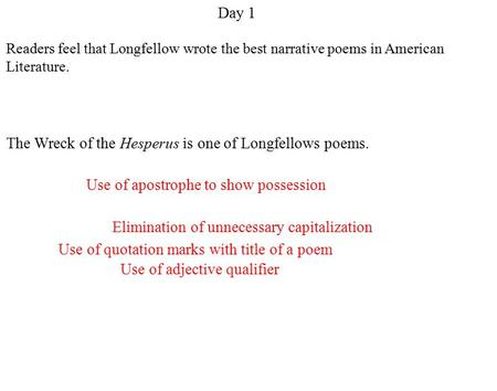 Readers feel that Longfellow wrote the best narrative poems in American Literature. Use of apostrophe to show possession Use of adjective qualifier Elimination.