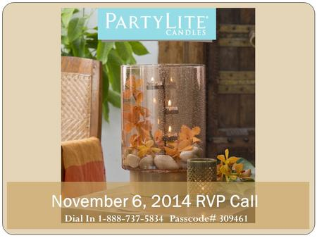 November 6, 2014 RVP Call Dial In 1-888-737-5834 Passcode# 309461.