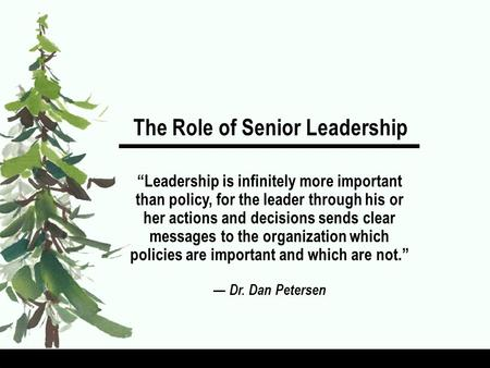 The Role of Senior Leadership