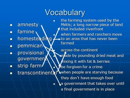 Vocabulary amnesty amnesty famine famine homesteading homesteading pemmican pemmican provisional government provisional government strip farm strip farm.