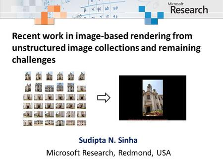 Recent work in image-based rendering from unstructured image collections and remaining challenges Sudipta N. Sinha Microsoft Research, Redmond, USA.
