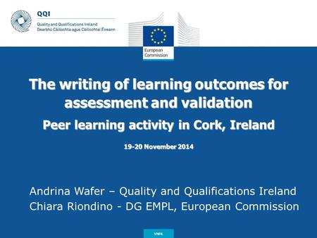 Date: in 12 pts The writing of learning outcomes for assessment and validation Peer learning activity in Cork, Ireland 19-20 November 2014 Andrina Wafer.