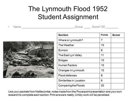 The Lynmouth Flood 1952 Student Assignment Name __________________________________Group ____ Score/100 ________ Section Points Score Where is Lynmouth?7.