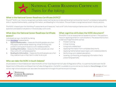 What is the National Career Readiness Certificate (NCRC)? The ACT ® NCRC is an industry recognized, portable credential that demonstrates achievement and.