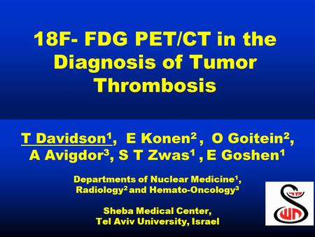 18F- FDG PET/CT in the Diagnosis of Tumor Thrombosis
