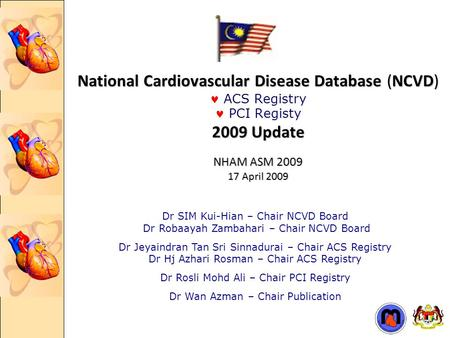 National Cardiovascular Disease Database (NCVD) 2009 Update NHAM ASM 2009 17 April 2009 National Cardiovascular Disease Database (NCVD) ACS Registry PCI.
