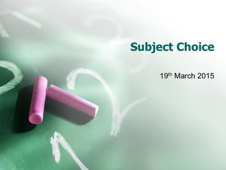 Subject Choice 19 th March 2015. Overview of Presentation Information on Minimum Third Level Entry Requirements (Set by Higher Education Institutes) Specific.