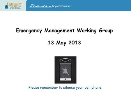 Emergency Management Working Group 13 May 2013 Please remember to silence your cell phone.