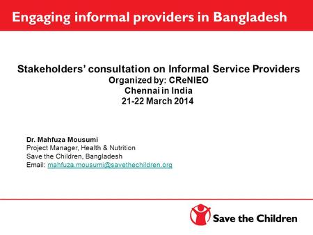 Stakeholders' consultation on Informal Service Providers