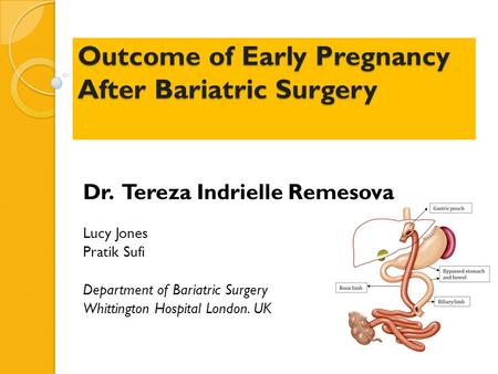 Outcome of Early Pregnancy After Bariatric Surgery Outcome of Early Pregnancy After Bariatric Surgery Dr. Tereza Indrielle Remesova Lucy Jones Pratik Sufi.