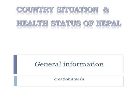 2 Population Statistics Population Statistics (based on population census 2011) Population of Nepal increased from 23.1 million in 2001 to 26.6 million.