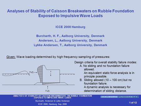 ANALYSES OF STABILITY OF CAISSON BREAKWATERS ON RUBBLE FOUNDATION EXPOSED TO IMPULSIVE WAVE LOADS Burcharth, Andersen & Lykke Andersen ICCE 2008, Hamburg,