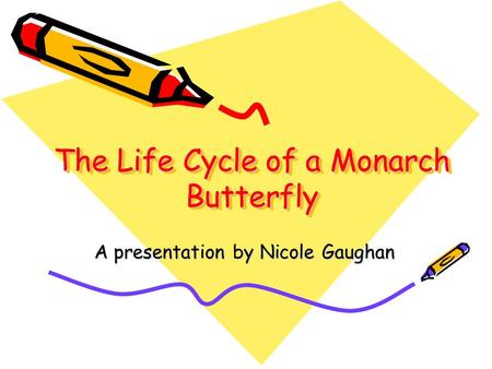 The Life Cycle of a Monarch Butterfly A presentation by Nicole Gaughan.