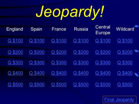 Jeopardy! EnglandSpainFranceRussia Central Europe Q $100 Q $200 Q $300 Q $400 Q $500 Q $100 Q $200 Q $300 Q $400 Q $500 Final Jeopardy Wildcard Q $100.
