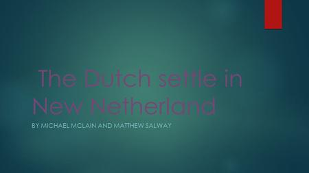 The Dutch settle in New Netherland BY MICHAEL MCLAIN AND MATTHEW SALWAY.