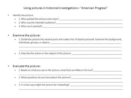 "Using pictures in historical investigations – ""American Progress"""