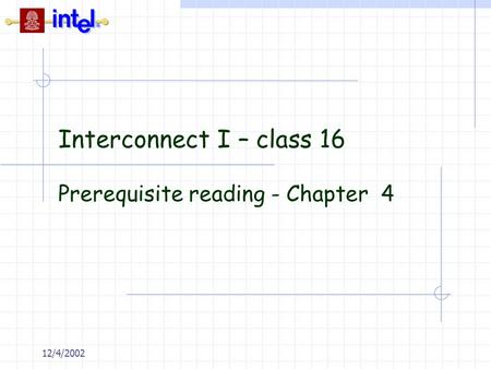Prerequisite reading - Chapter 4