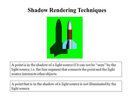 "Shadow Rendering Techniques A point is in the shadow of a light source if it can not be ""seen"" by the light source, i.e. the line segment that connects."