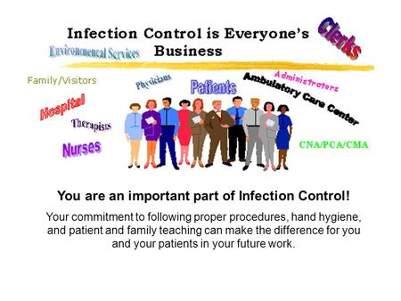 You are an important part of Infection Control! Your commitment to following proper procedures, hand hygiene, and patient and family teaching can make.