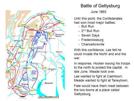 Battle of Gettysburg June 1863 Until this point, the Confederates had won most major battles: - Bull Run - Fredericksburg - Seven Days - 2 nd Bull Run.