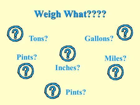 Weigh What???? Gallons? Inches? Pints? Miles? Tons? Pints?