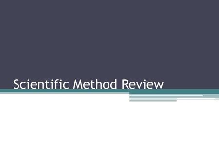 Scientific Method Review. What are the six steps of the Scientific Method IN ORDER?