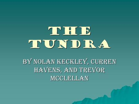 The Tundra By Nolan Keckley, Curren Havens, and Trevor McClellan.