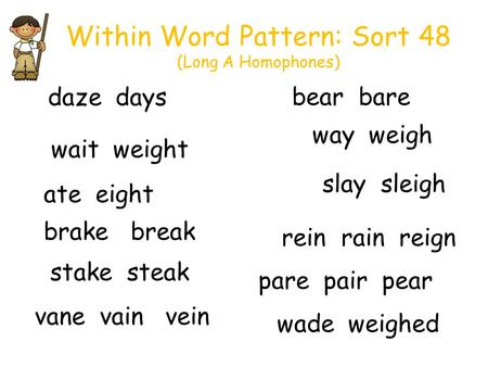Within Word Pattern: Sort 48 (Long A Homophones) way weigh slay sleigh wait weight daze days bear bare brake break wade weighed stake steak vane vain vein.