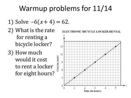 Warmup problems for 11/14 1)Solve –6(x + 4) = 62. 2)What is the rate for renting a bicycle locker? 3)How much would it cost to rent a locker for eight.