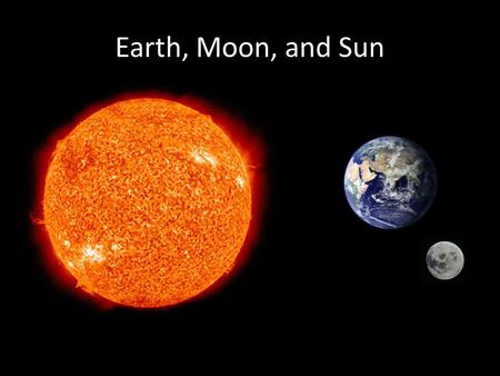 Earth, Moon, and Sun. The Sun The Sun is a burning ball of gas. The Sun gives the Earth HEAT and LIGHT. It provides ENERGY for the Earth.