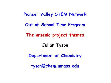 Pioneer Valley STEM Network Out of School Time Program