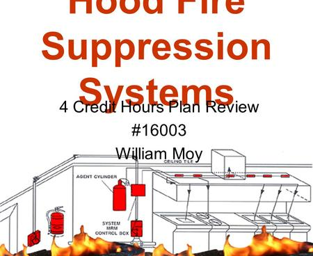Hood Fire Suppression Systems 4 Credit Hours Plan Review #16003 William Moy.