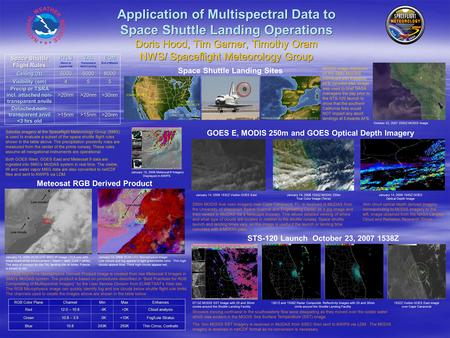 Application of Multispectral Data to Space Shuttle Landing Operations Doris Hood, Tim Garner, Timothy Oram NWS/ Spaceflight Meteorology Group STS-120 Launch.