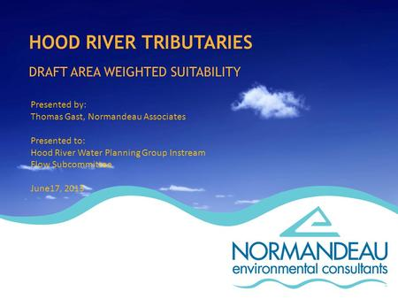 HOOD RIVER TRIBUTARIES DRAFT AREA WEIGHTED SUITABILITY Presented by: Thomas Gast, Normandeau Associates Presented to: Hood River Water Planning Group Instream.
