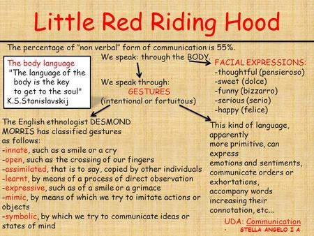 Little Red Riding Hood UDA: Communication STELLA ANGELO I A The percentage of ''non verbal'' form of communication is 55%. We speak: through the BODY.