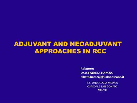 ADJUVANT AND NEOADJUVANT APPROACHES IN RCC