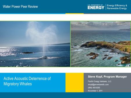 1 | Program Name or Ancillary Texteere.energy.gov Water Power Peer Review Active Acoustic Deterrence of Migratory Whales Steve Kopf, Program Manager Pacific.