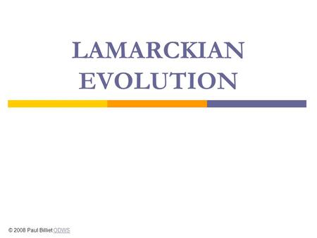 LAMARCKIAN EVOLUTION © 2008 Paul Billiet ODWSODWS.
