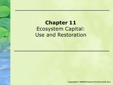 Chapter 11 Ecosystem Capital: Use and Restoration Copyright © 2008 Pearson Prentice Hall, Inc.