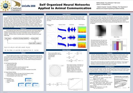 TEMPLATE DESIGN © 2008 www.PosterPresentations.com Self Organized Neural Networks Applied to Animal Communication Abstract Background Objective The main.