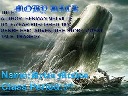  This story takes place aboard the whaling ship the Pequod, in the Pacific, Atlantic, and Indian Oceans. The strong ocean waves rushing and shooting.