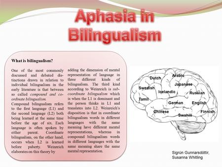 What is bilingualism? One of the most commonly discussed and debated dis- tinctions drawn in relation to individual bilingualism in the early literature.