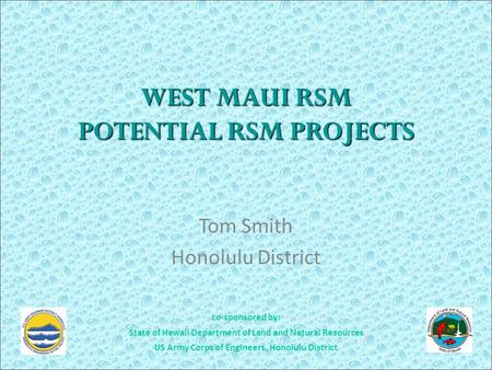 Co-sponsored by: State of Hawaii Department of Land and Natural Resources US Army Corps of Engineers, Honolulu District WEST MAUI RSM POTENTIAL RSM PROJECTS.