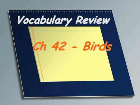 Vocabulary Review Ch 42 - Birds. In birds, the fused pair of collar bones; commonly called the wishbone Furcula.