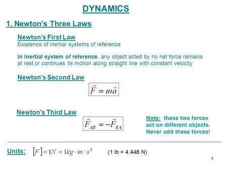 DYNAMICS 1. Newton's Three Laws Newton's First Law Newton's Second Law