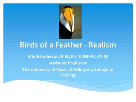 Birds of a Feather - Realism Mindi Anderson, PhD, RN, CPNP-PC, ANEF Assistant Professor The University of Texas at Arlington, College of Nursing.