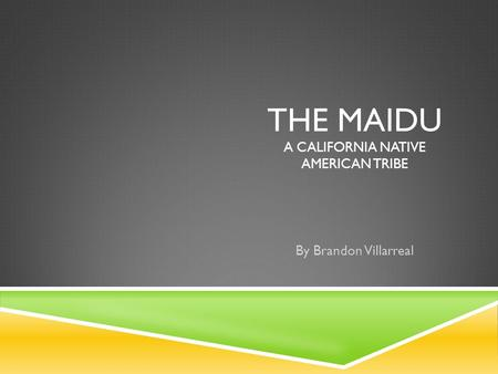 THE MAIDU A CALIFORNIA NATIVE AMERICAN TRIBE By Brandon Villarreal.
