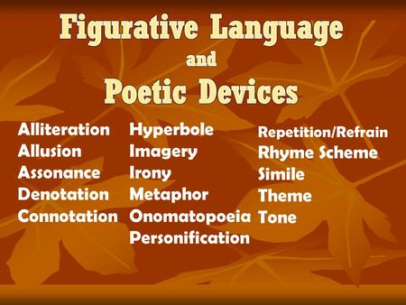 Figurative Language Poetic Devices