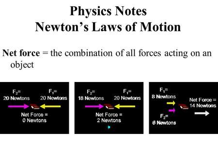 Physics Notes Newton's Laws of Motion Net force = the combination of all forces acting on an object.