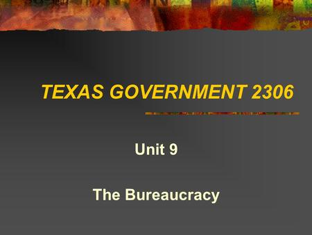 TEXAS GOVERNMENT 2306 Unit 9 The Bureaucracy The Executive Branch That part of government that administers the law and implements public policy.
